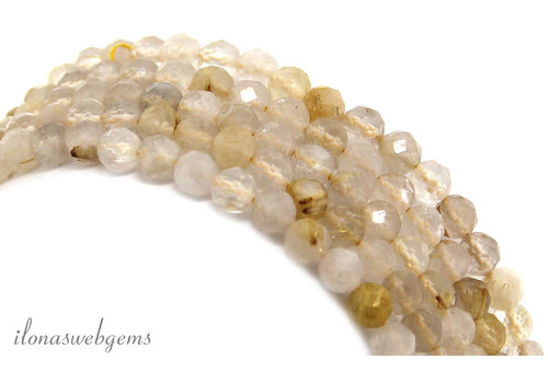 Rutilated quartz beads faceted around ca. 4mm AA quality cut
