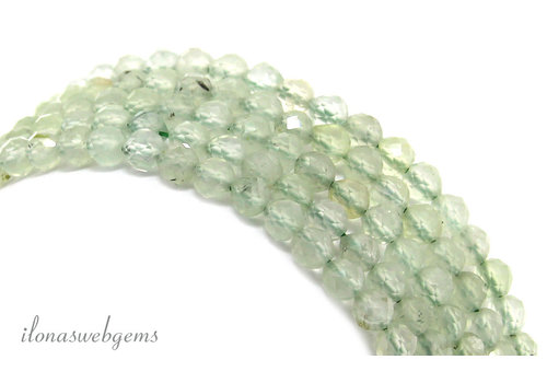Prehnite beaded facet around ca. 4mm AA quality cut