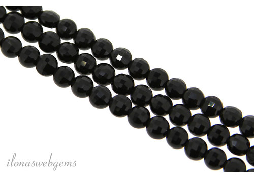 Onyx beaded coins facet around 4x3mm