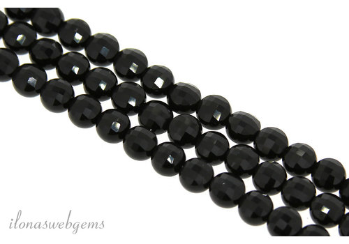 Onyx beaded coins facet around 6x4.5mm