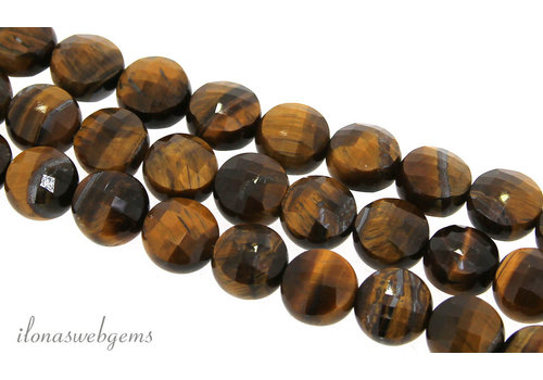1x Tiger eye bead coin facet ca. 8mm