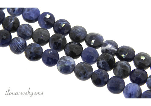 1x Sodalite bead coin facet approx. 7.5mm