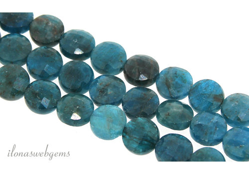 Apatite beaded coins faceted around 8.5mm