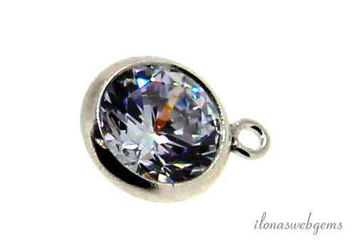 Sterling silver pendant with Cubic Zirconia 6mm