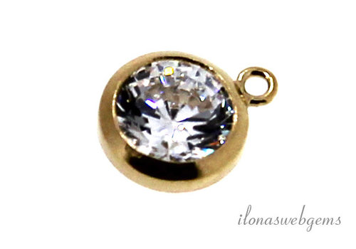 Gold filled hangertje met Cubic Zirconia 6mm