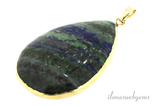 Chrysocolla pendant gold plated around 54x35x10mm