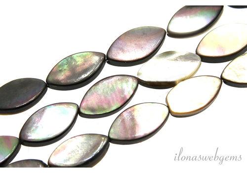 Black lip shell pearl beads oval around 14x7x3mm