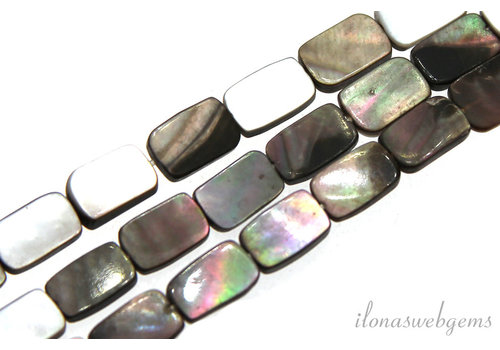 Black lip shell pearl beads rectangle about 15x12x2.5mm