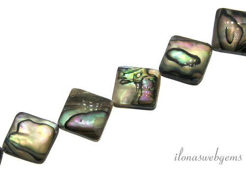 Abalone beads square around 12mm