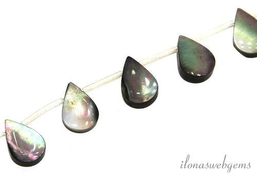 Black lip shell pearl drops around 13x10x3mm