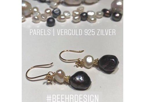 Inspiratie oorbellen parels met verguld zilver