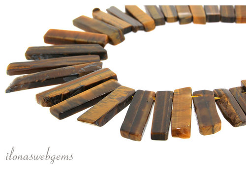Tiger eye beads side drill ascending and descending from approx. 22x12x6 to 54x12x6mm