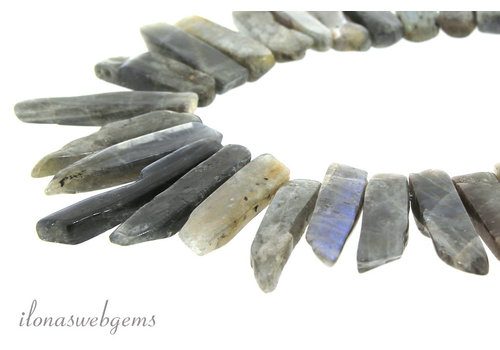 Labradorite beads side drill ascending and descending from approximately 28x10x6 to 48x10x6mm