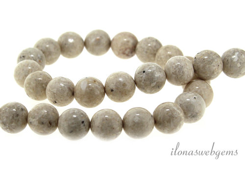 White Fossil beads about 12mm