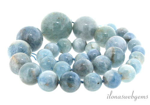 Aquamarine beads round ascending and descending from approximately 11 to 26.5 mm