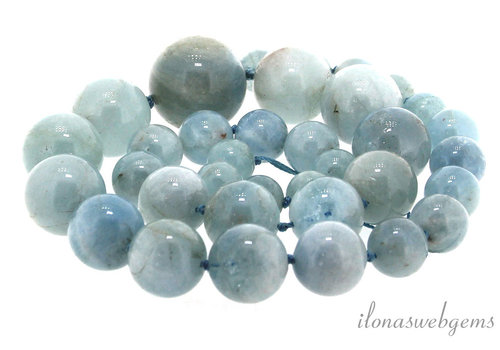 Aquamarine beads round ascending and descending from approx. 11 to 23 mm