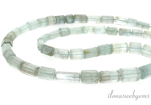 Aquamarine beads ascending and descending from around 5x5 to 9x9mm