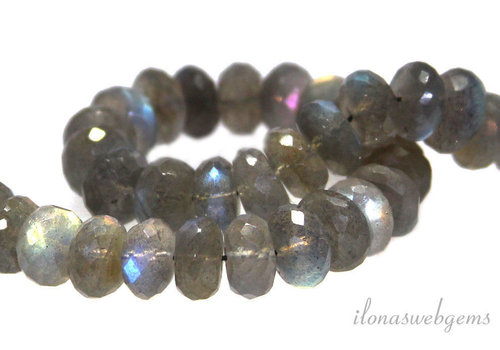 1x Labradorite bead faceted rondelle AAA quality around 14-15x7mm