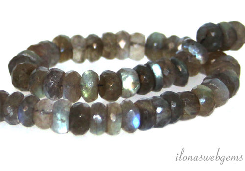 1x Labradorite bead faceted rondelle AAA quality approx. 12-13.5x4mm
