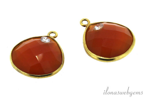 1x Vermeil pendant with faceted Carnelian