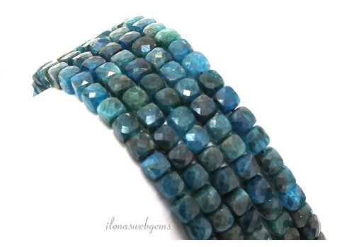Apatite beads faceted cube approx. 4-5mm