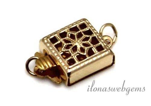 14k / 20 Gold filled filigree box lock approx. 8x8mm