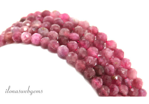 Pink Tourmaline beads faceted around 3.3mm AA quality cut
