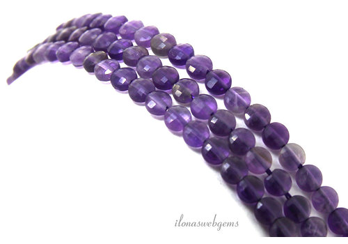 Amethyst beads faceted coins about 4x2mm