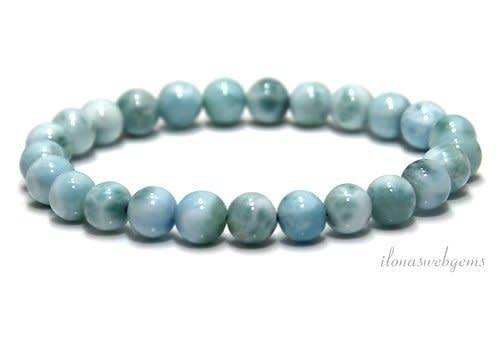 Larimar Perlen Armband Eine Qualität ca. 7,5 mm