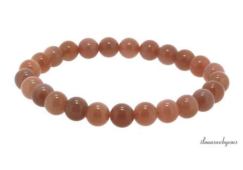 Oranje Maansteen kralen armband ca. 8mm