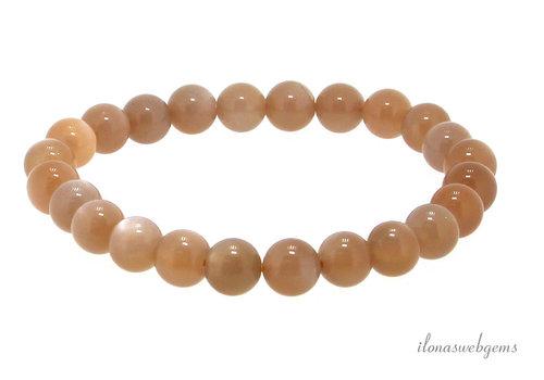 Oranje maansteen kralen armband ca. 8.5mm