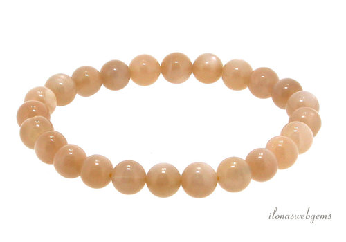 Oranje maansteen kralen armband 4