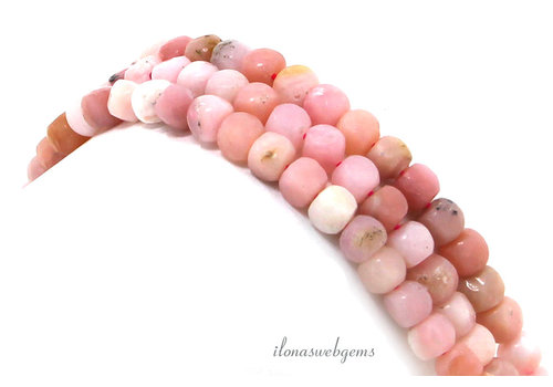 Pink Opal faceted cube beads around 4.5mm