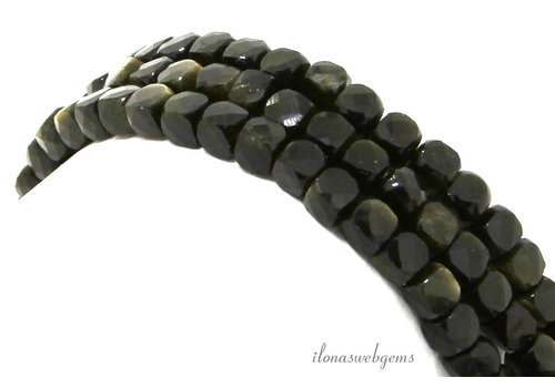 Golden Obsidian facet kubus kralen ca. 5mm