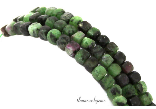 Ruby Zoisite faceted cube beads around 3.5mm