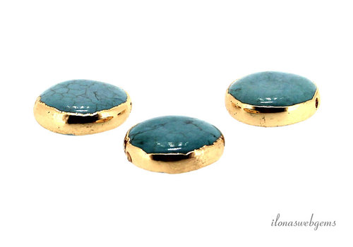Gold plated Howlite coin approx. 14 mm