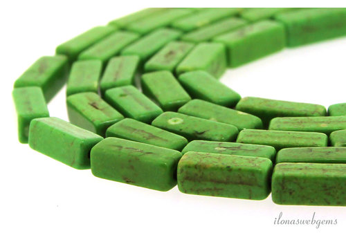 "Howlite square sticks ""Grass green"" approx. 12x4x4mm"