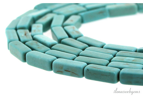 Howlite square bars turquoise about 12x4x4mm