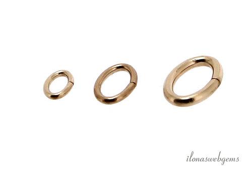 Gold filled lock-in oogjes ovaal ca. 5.5x3.5x0.75mm