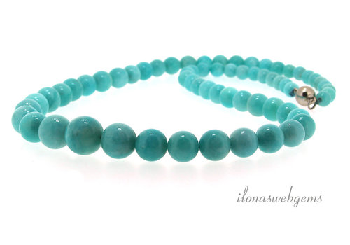 Peruvian Amazonite beads ascending and descending from approx. 6 to 12 mm