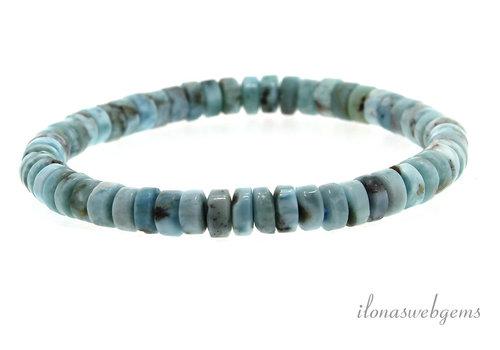 Larimar bead bracelet approx. 6.5x2.5mm