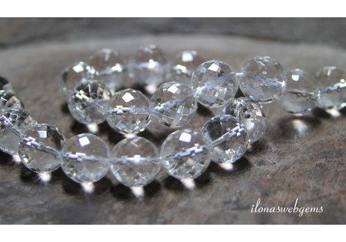 Bergkristal kralen micro facet rond ca. 14mm