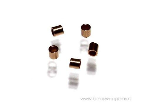 1 Stück Rosé Goldgefüllte Crimpperle ca. 1,5x1mm