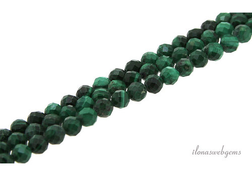 Malachite beads faceted approx. 4mm AA quality cut
