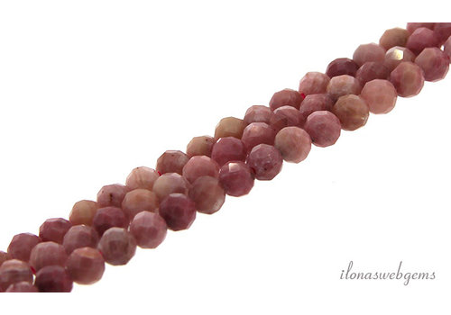 Rhodonite beads faceted approx. 4mm AA quality cut