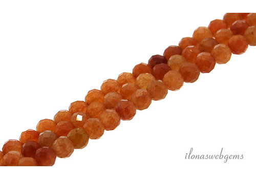 Aventurine beads orange facet approx 4mm AA quality cut