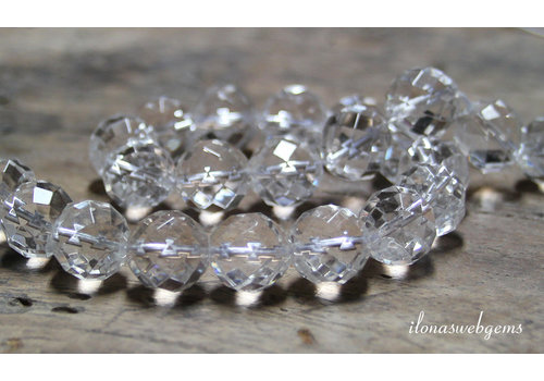 Bergkristal kralen grote facet ca. 14mm A kwaliteit