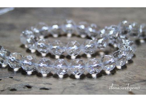 Bergkristal kralen grote facet ca. 8.5mm A kwaliteit
