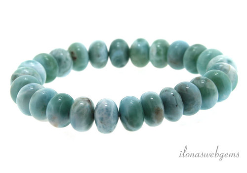 Larimar bead bracelet about 10x5mm