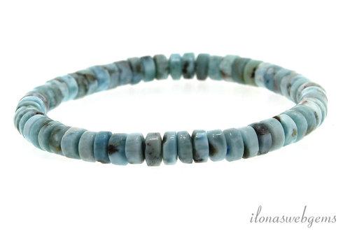 Larimar bead bracelet approx 7.5x3.5mm